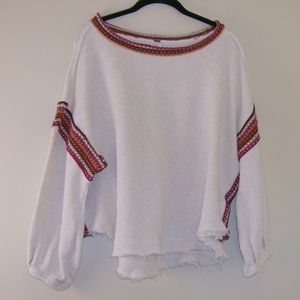 Free People Oversize Ivory Sweatshirt Fair Isle M